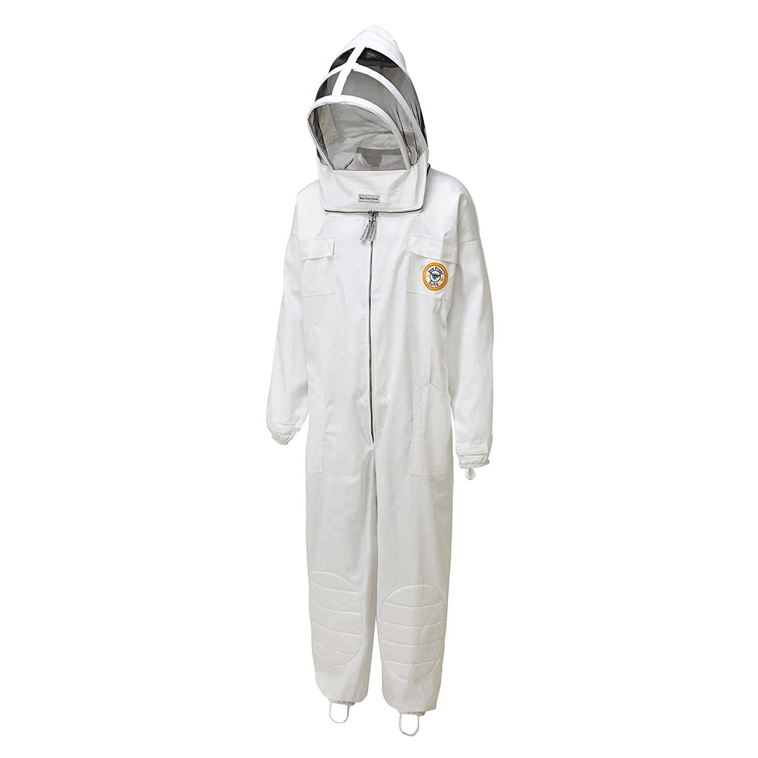 Bee Proof Suits BeeKeeper's Suit Cotton Bee Suit with both Throw Back Hood and Traditional Round Hat White Medium