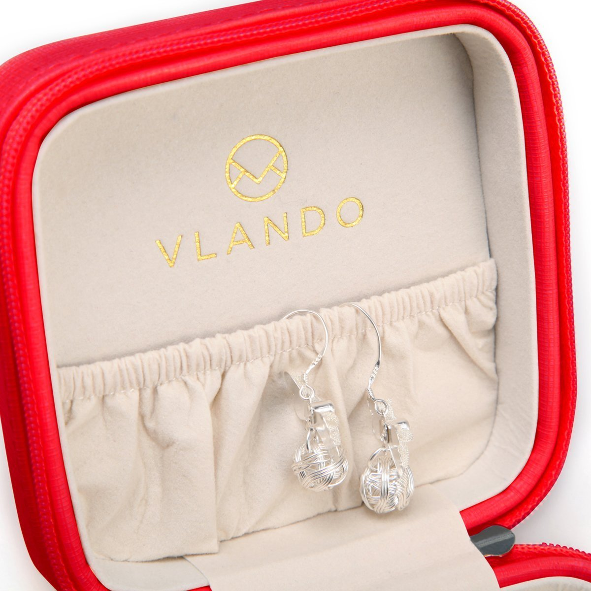 Vlando Small Travel Jewelry Box Organizer Display Storage Case for Rings Earrings Necklace Blue