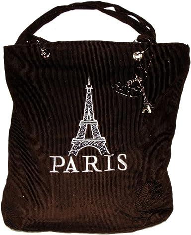 Souvenirs of France Borsa Paris in velluto con anello portachiavi