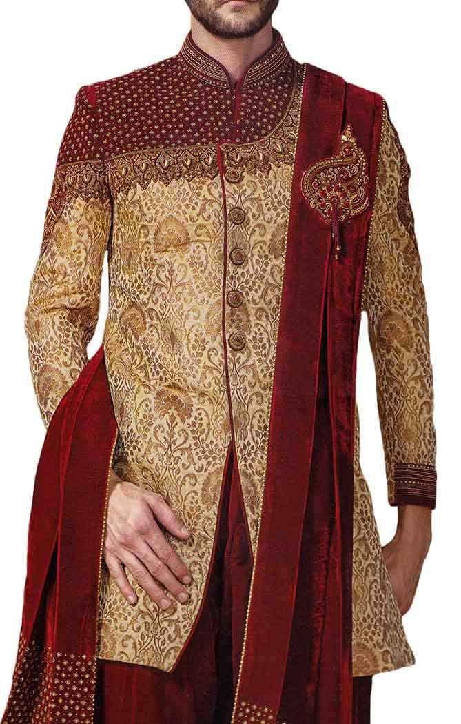 INMONARCH Mens Golden Indowestern Royal Look 3 Pc 5 Button IN516S42 42 Short Golden