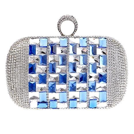 Bolso Mujer Noche Bolsas Fiesta Boda Carteras Cadena Embrague Azul