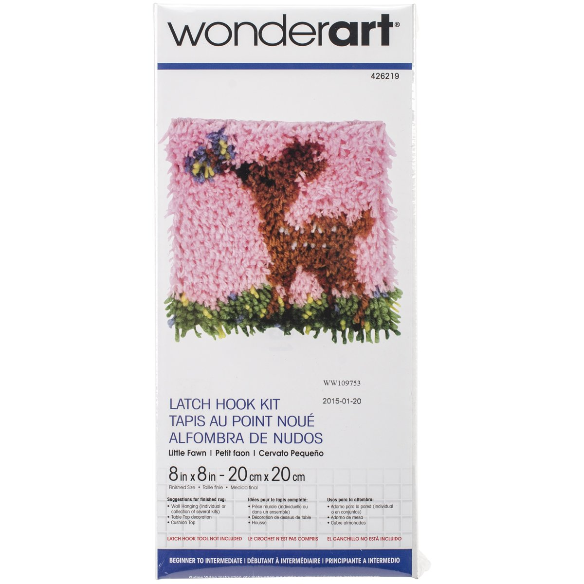 WonderArt 426199C Latch Hook Kit, 8 X 8, Baseball 8 X 8