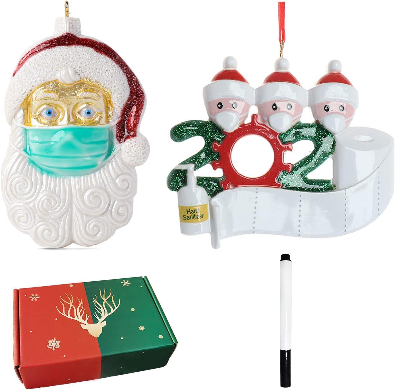 Anleymu Adorno de Navidad Personalizado 2020 Kit de cuarentena con máscara Colgantes de árbol de Navidad Decoraciones navideñas Caja de Regalo (Familia de 3 + Santa)