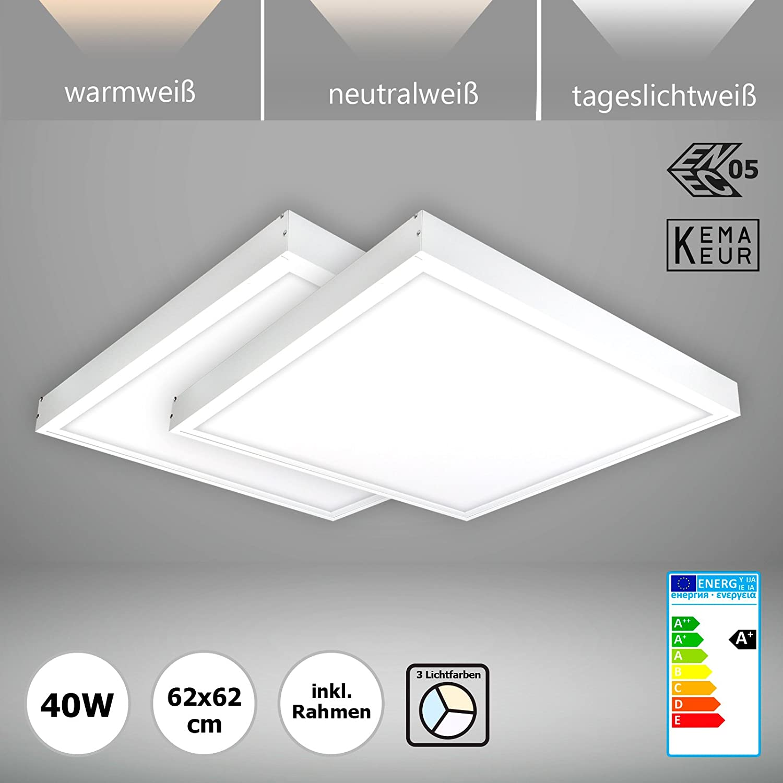 Setpreis 2x Xtend PLs2.0 LED Panel 62x62 + Rahmen, Lichtfarbe umschaltbar 40W 3CCT dimmbar 1-10V ENEC zertifiziert [Energieklasse A+]