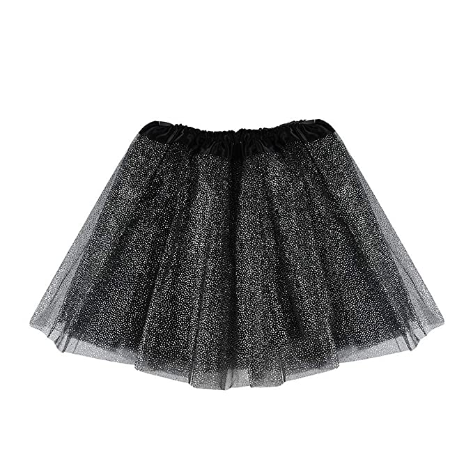 9532629f70 Lazzboy Girls Tutu Tulle Sparkling Ballet Skirt Princess Dress-up Dance  Wear for 3-8 Years Costume Party Kids(2-8 Years,Black): Amazon.co.uk:  Clothing
