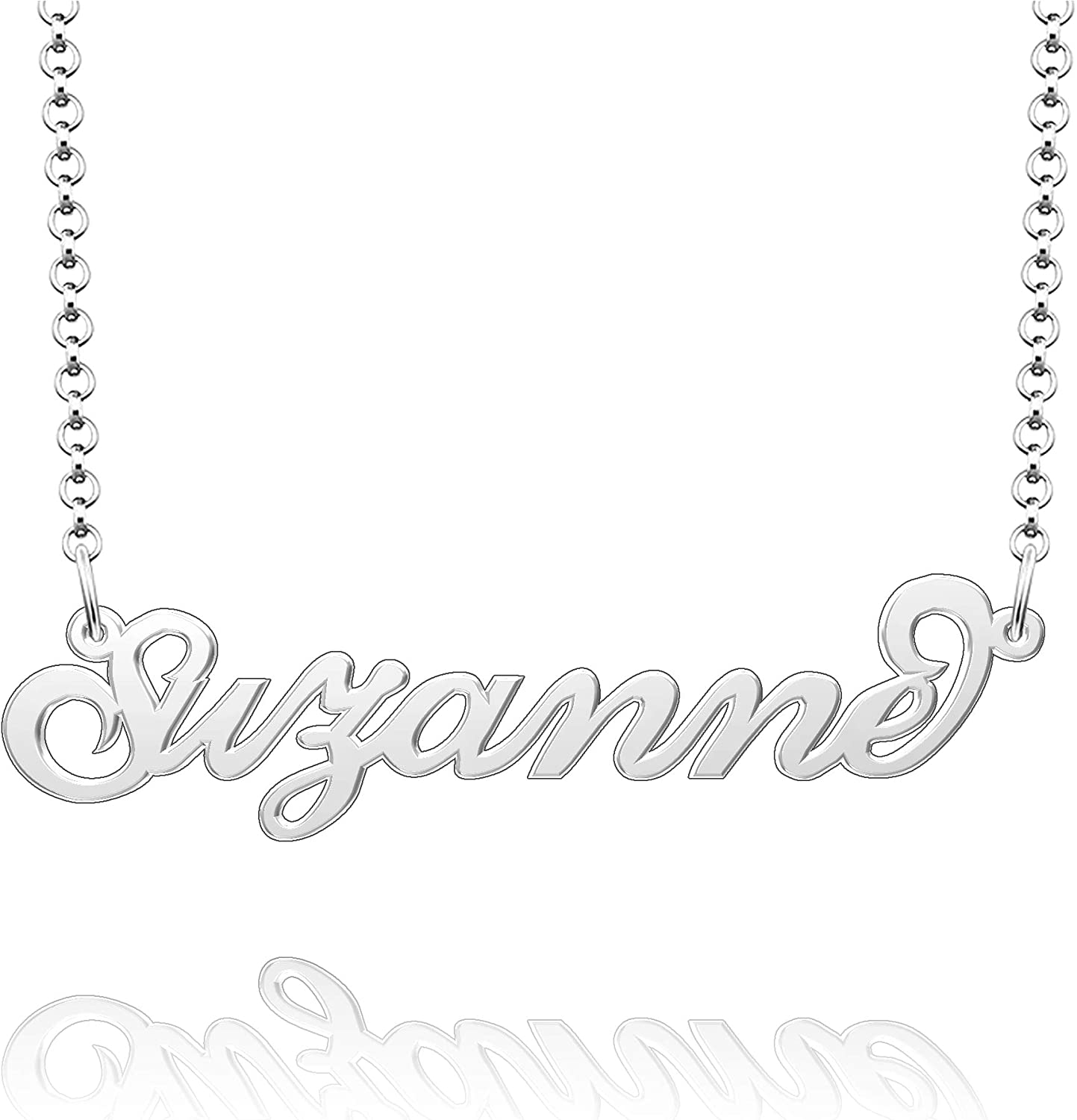 Moonlight Collections Script Necklace 951 Sterling Silver Pendant Chain Personalized Necklace Suzanne