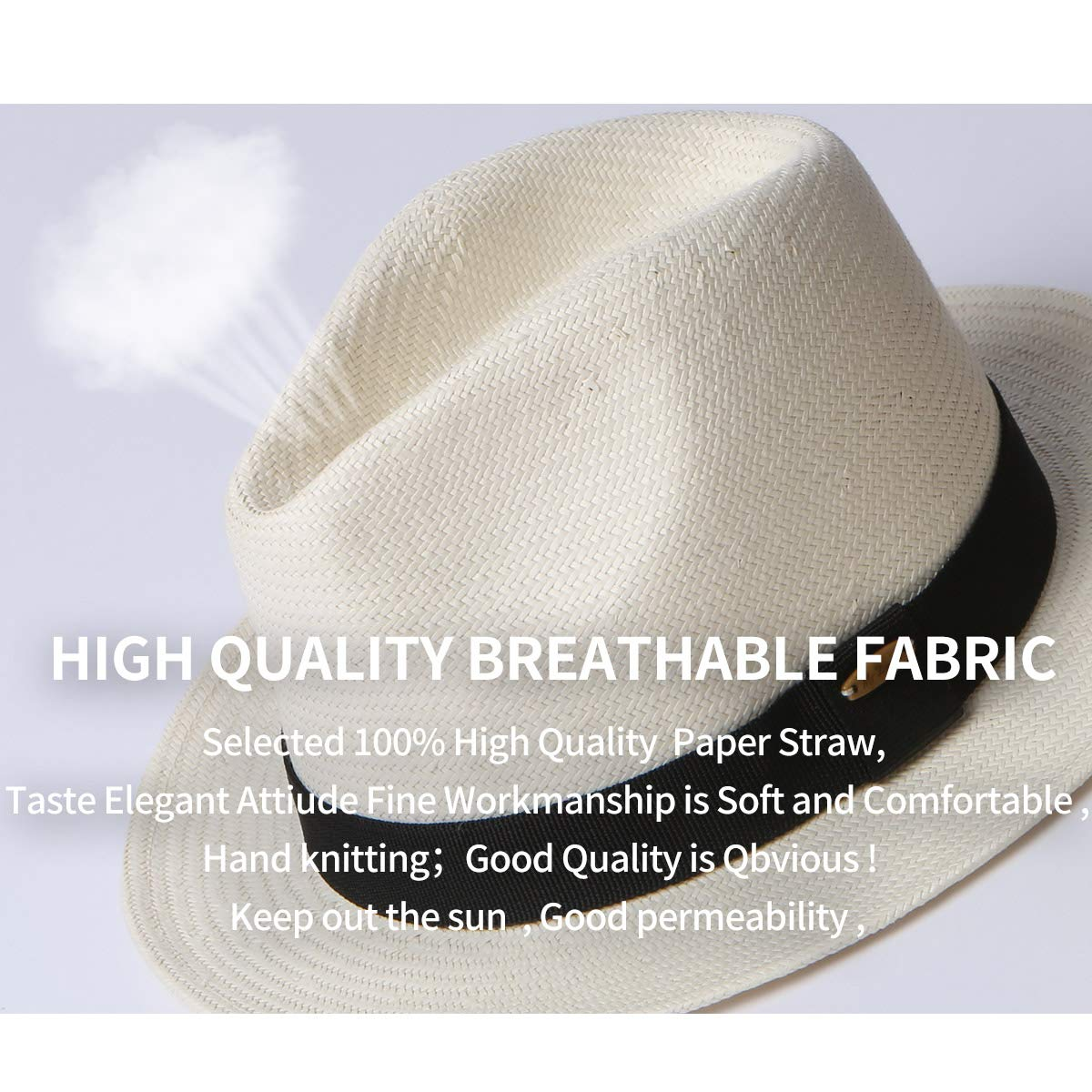 bbb00bb0a5672 Erigaray Panama Hats for Men Summer Sun Straw Hat Man Fashion Fedora Beach  Caps at Amazon Men s Clothing store