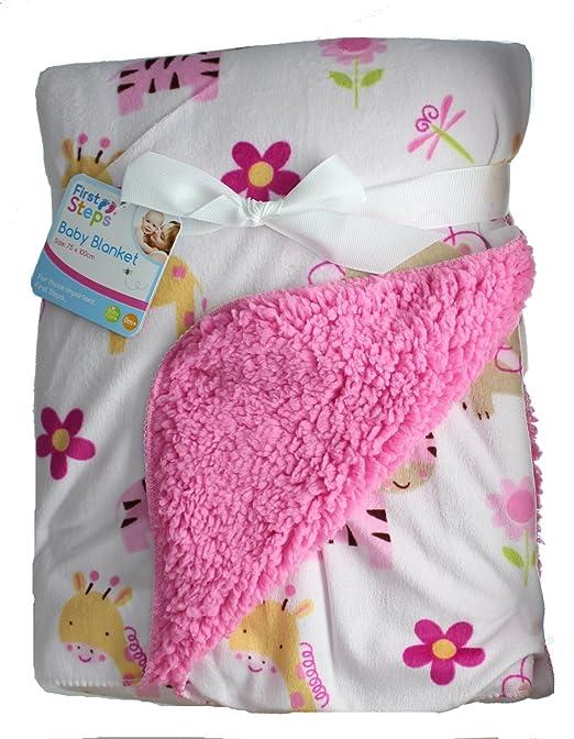 4 opinioni per First Steps Super Soft Mink/Sherpa Pink Jungle Animal Baby Blanket 75cm x 100cm