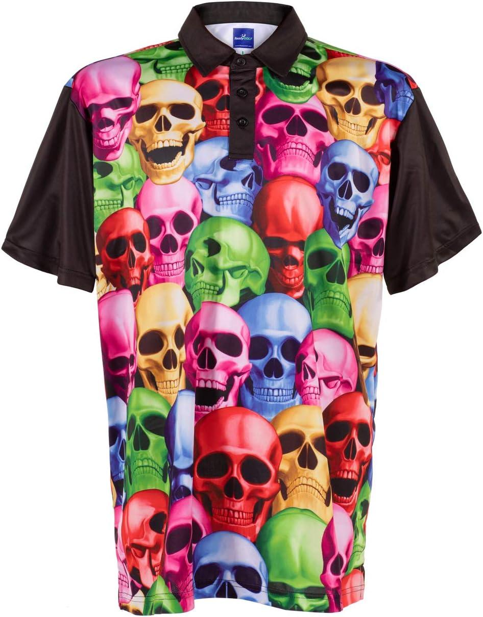 Amazon.com: ReadyGOLF Mens Golf Polo Shirt - Pile of Skulls Medium ...