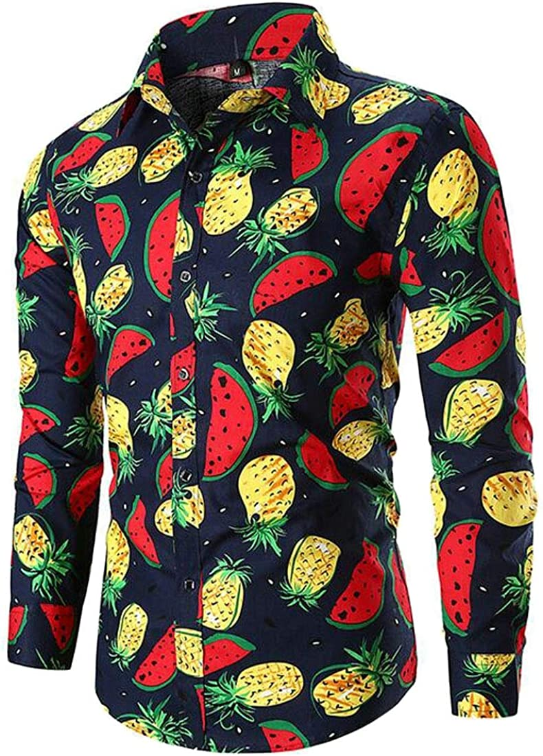 ARTFFEL Mens African Print Dashiki Long Sleeve Button Down Casual Pineapple Print Shirt Blouse