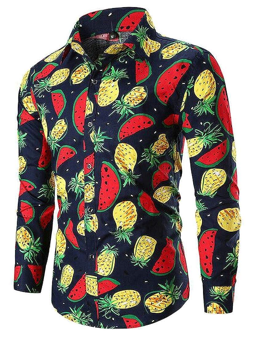 KLJR Men Pineapple Print Button Down African Fribal Print Long Sleeve Casual Shirt Blouse