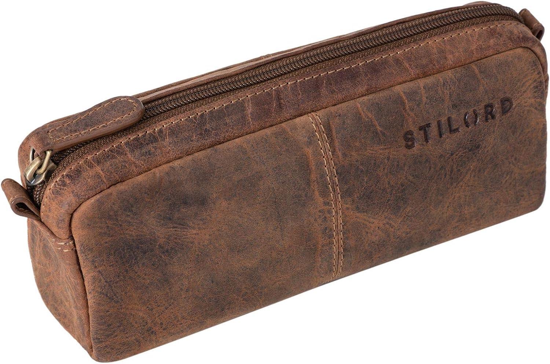 STILORD Spencer Estuche para Lápices Cuero Vintage Bolsa Portatodo para Maquillaje Cartuchera de Genuino Piel, Color:Calais - marrón: Amazon.es: Equipaje