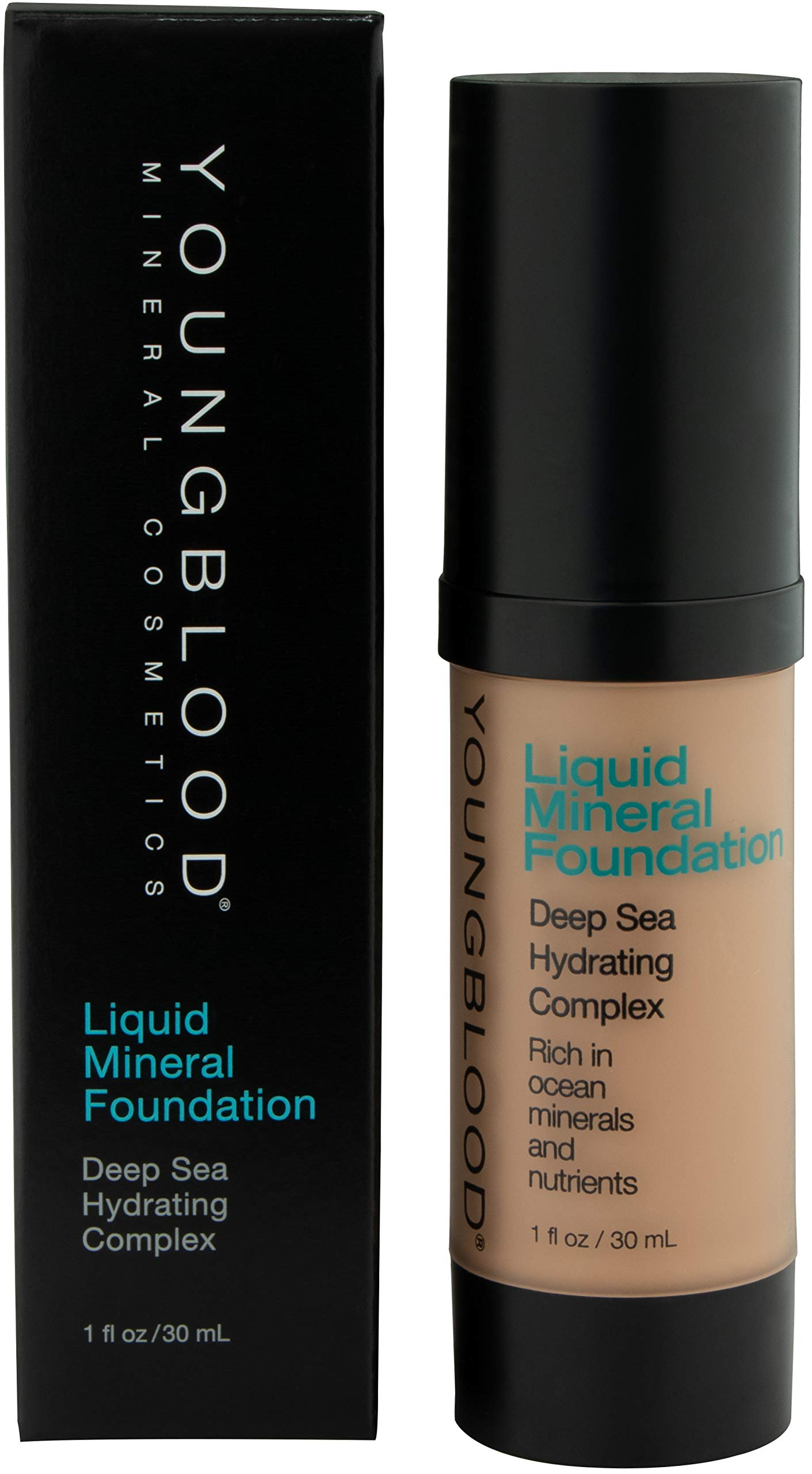 Youngblood Clean Luxury Cosmetics Liquid Mineral Foundation, Golden Sun | Dewy Mineral Lightweight Full Coverage Makeup for Dry Skin Poreless Flawless Tinted Glow | Vegan, Cruelty Free, Gluten-Free