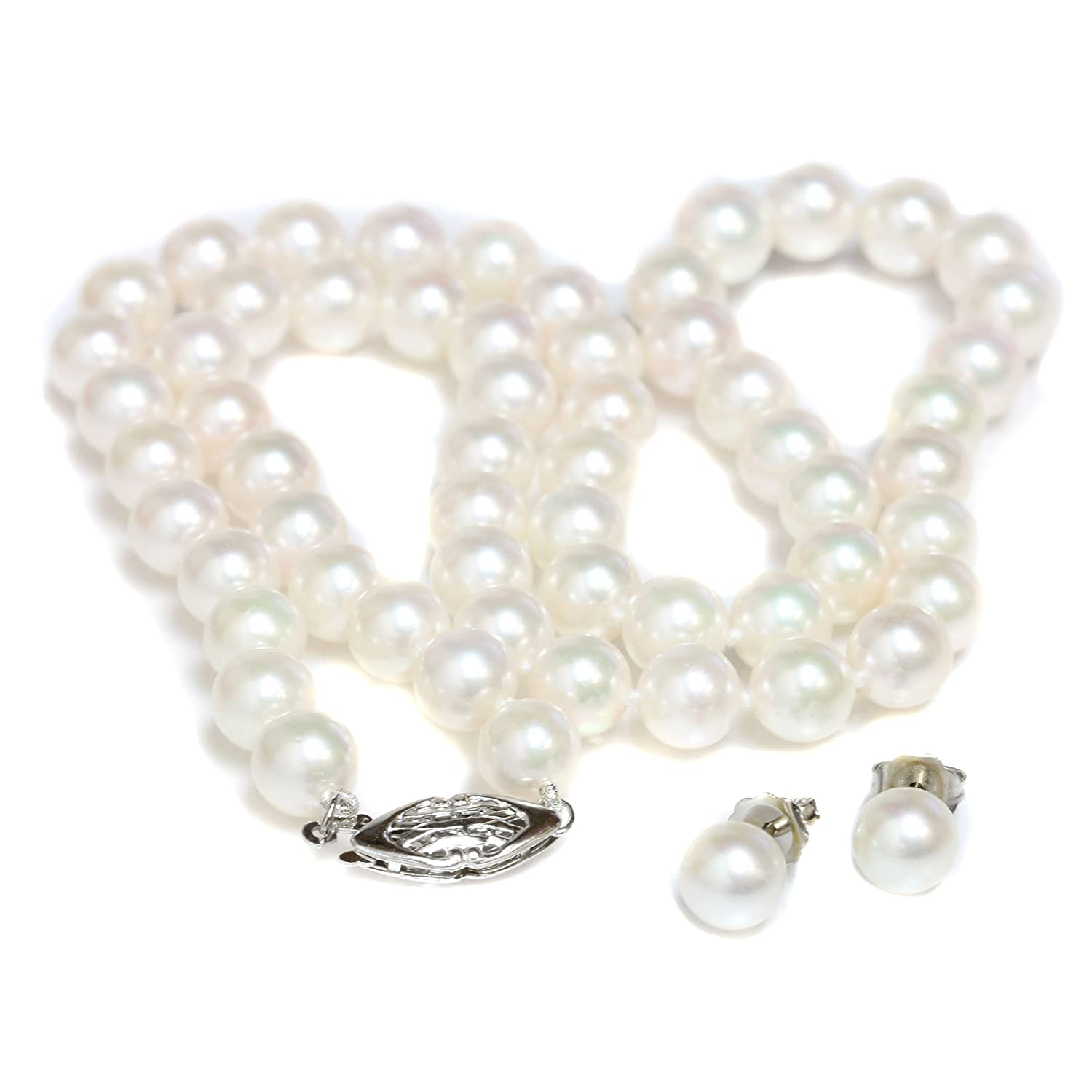 926d210681d Amazon.com: Seven Seas Pearls Cultured Akoya Pearl Necklace Earrings ...