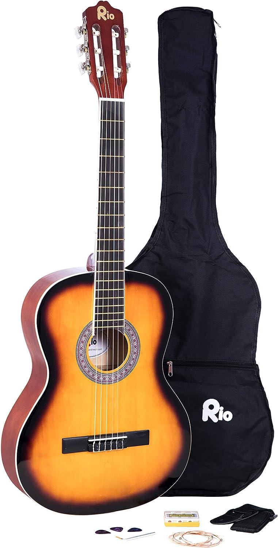 Gitarre,4//4-Konzert Set// Zubehör,Tasche mit ersatz Saiten,3xPik//Plektren Gurt