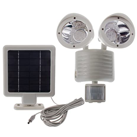 Gentil Solar Powered Motion Sensor Light 22 LED Garage Outdoor Security Flood Spot  Light White