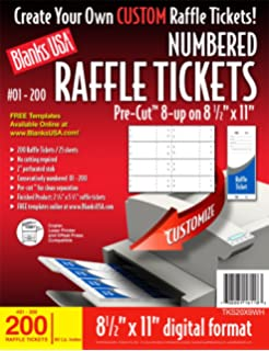 Blanks/USA Pre Cut Numbered Raffle Tickets (TKS20X9WH)  Blank Printable Tickets