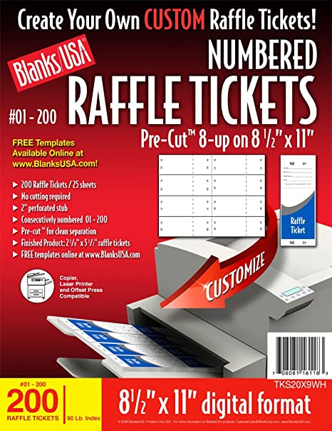 Amazon.com: Blanks/USA Pre-Cut Numbered Raffle Tickets (TKS20X9WH ...
