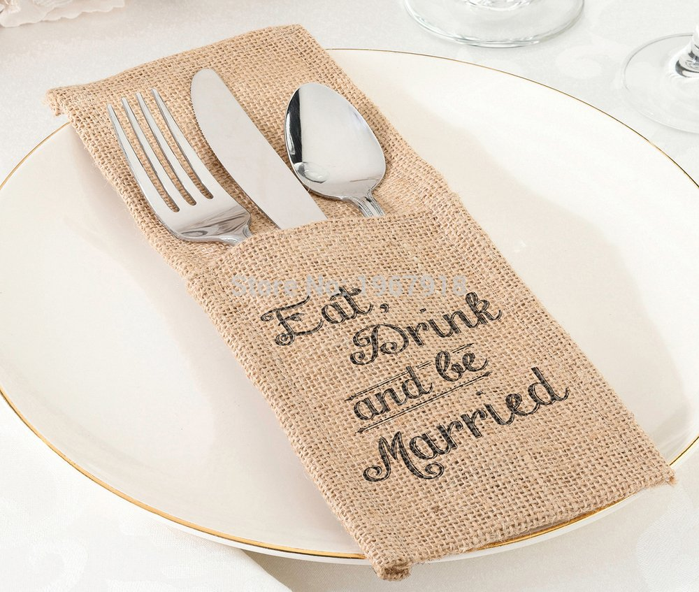 Pack of 100 pcs Burlap Silverware Holders Eat, Drink and Be Married Wedding Decoration Jute Hessian Cutlery Pocket
