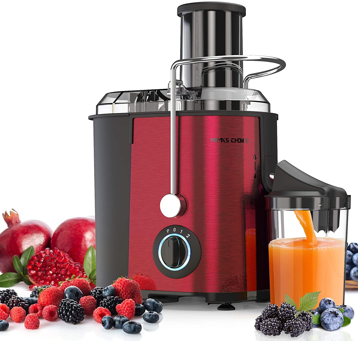 MAMA'S CHOICE Juicer, Juice Extractor Machines 800W, Wide Feed Chute for Whole Fruit Vegetable,3 Speed Juicer Machines Fast Extract, Anti-drip Function, Easy to Clean, Non-Slip Feet, Red