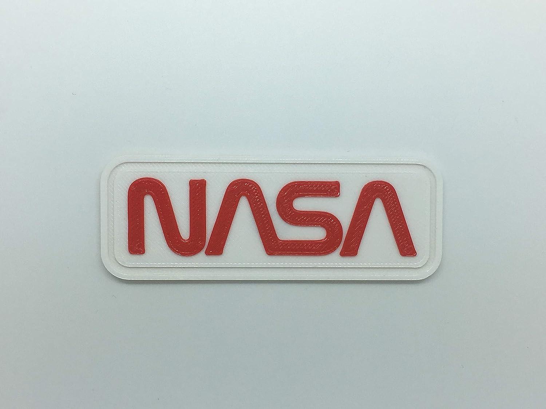 Patch Toppa Logo Flessibile Stampata 3D,Cucibile,Adesiva,Magnetica, NASA Scritta- Dim 8 X 3 cm - Replica 3d Printed Patch