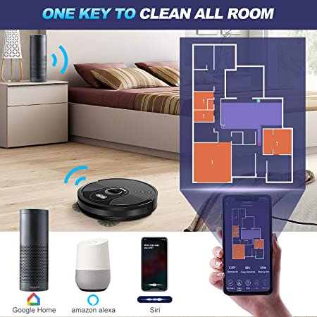 ABIR Robot Vacuum Cleaner, 1800Pa Adjustable Suction Power, 360 Smart Sensor Protection, Wi-Fi App, Quiet, Self-Charging, Multiple Cleaning Modes Robotic Vacuum Cleaner for Pet Hair,Hard Floor,Carpet
