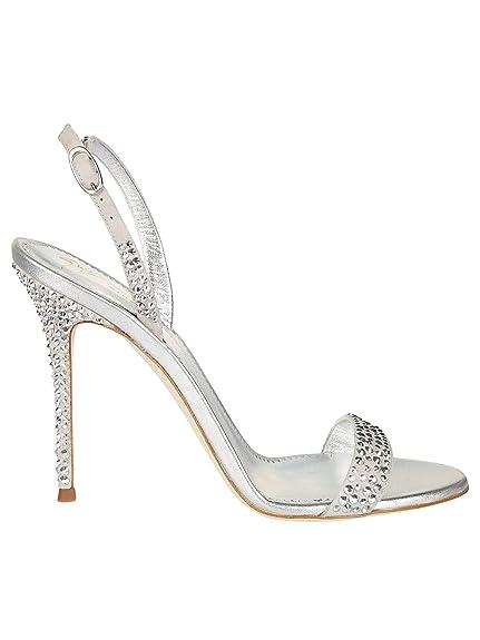b67c87f7b Giuseppe Zanotti Design Women s E800008001 Silver Leather Sandals ...