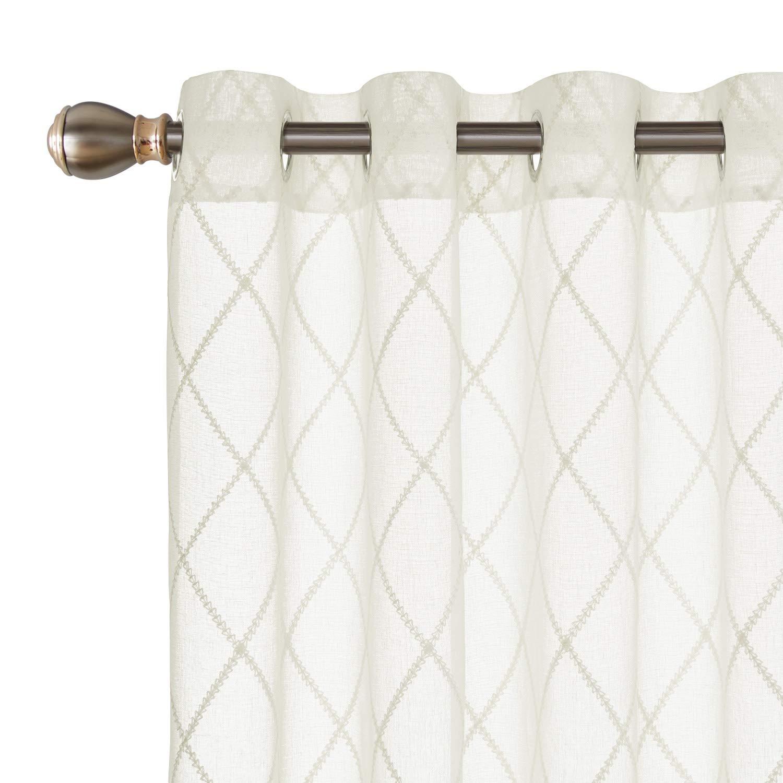 Deconovo Visillos para Ventanas Gasa Efecto Lino Cortina Transparente para Habitación Infantil 2 Paneles 140 x 175 cm Cuadros Beige