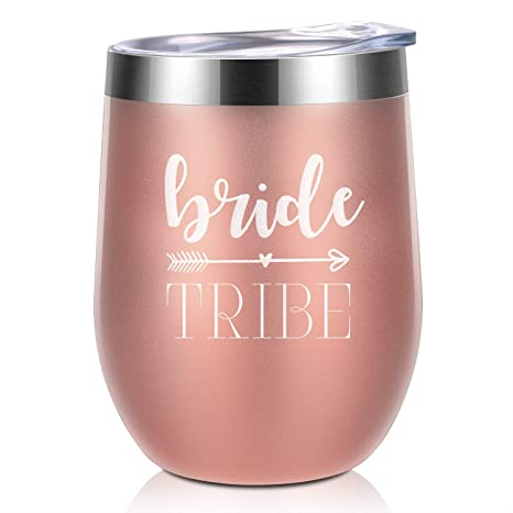 edf57aea77c Bride Tribe Bridesmaids Bachelorette Party Rose Gold & White Wine Tumbler |  Bridal Shower Gift | Bride to Be Maid of Honor by BabyPop!: Kitchen & Dining