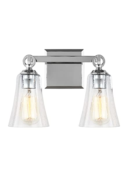 Feiss Vs24702ch Monterro Glass Wall Vanity Bath Lighting Chrome 2 Light 14 W X 10 H 150watts