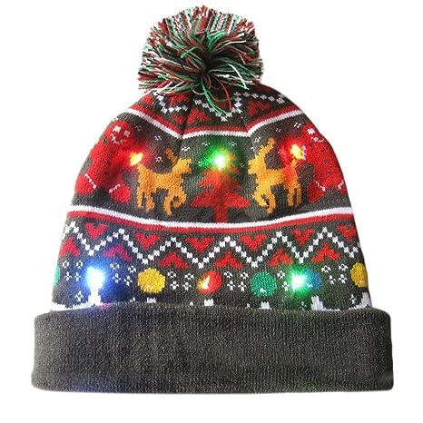 e51b022626fce Christmas Hat ED Light Up Hat Beanie Knit Cap Warm Autumn Winter Christmas  Gifts Parties Decorative