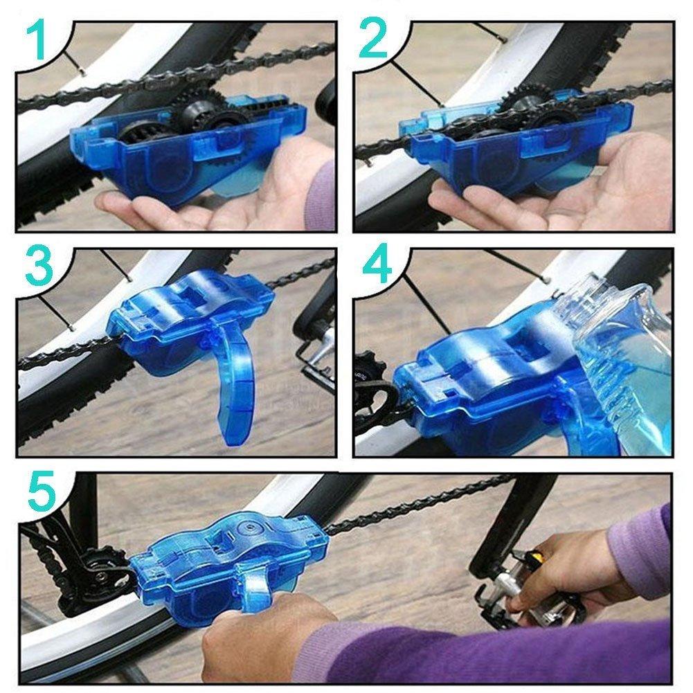JTENG Fahrrad Kettenreinigungsger/ät Kettenreiniger Reinigung Scrubber Pinsel-Werkzeug im Set mit Ritzelb/ürste,2 Paar Latexhandschuhe 2 St/ück hebeln Reifenstangen