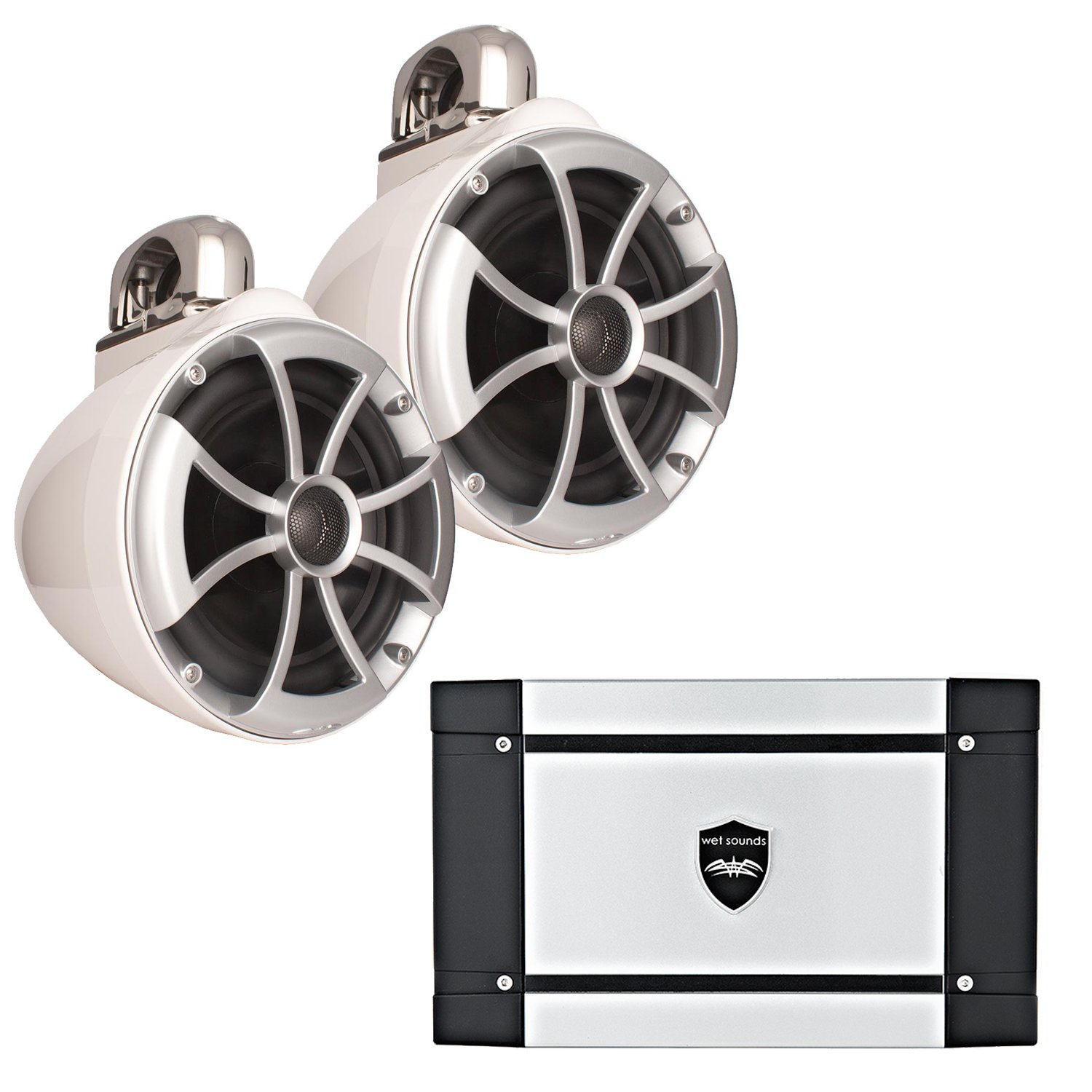 Wet Sounds ICON8-WFC 8'' White Fixed Clamp Tower Speakers & Wet Sounds HT-2 600 Watt Amplifier