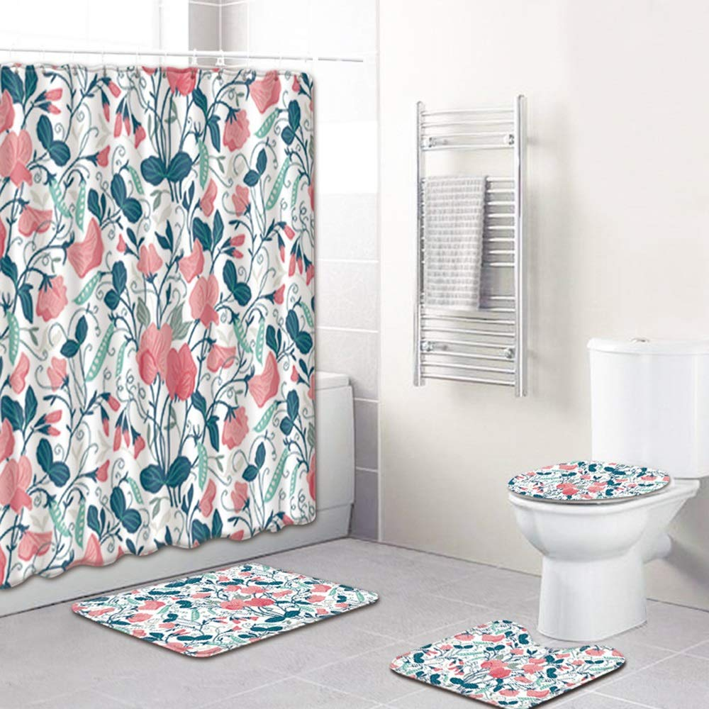 ETH Painted Printing Pattern Shower Curtain Floor Mat Bathroom Toilet Seat Four-Piece Carpet Water Absorption Does Not Fade Versatile Comfortable Bathroom Mat Can Be Machine Washed Durable by ETH
