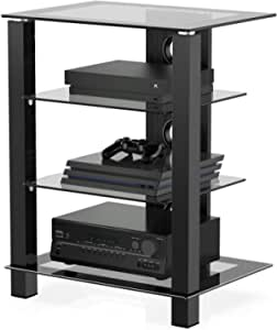 FITUEYES 4-Tier AV Media Stand Component Cabinet and Hi-Fi Rack Audio Tower with Height Adjustable Tempered Glass Shelves, AS406003GB