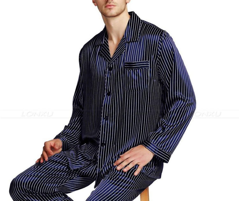 Mens Silk Satin Pajamas Set Pajama Pyjamas Sleepwear Set Loungewear,Navy Blue Strip,4XL