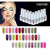 [298 Coloris disponible] Vishine Lot de 12 Flacons Vernis Gel Semi-Permanent (10 couleurs + Base Top Coat Kit ) Vernis à Ongles UV LED Soak Off 12pcs 8ml
