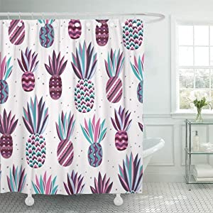 SPXUBZ Summer Pattern with Flat Pineapples On Bright Dots Pink Violet Purple Blue and Turquoise Colors Good Shower Curtain Waterproof Bathroom Decor Polyester Fabric Curtain Sets with Hooks