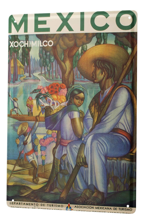 Blechschild Stadt Deko  Veracruz Mexiko Frau Palme Blüten Metallschild 20X30 cm