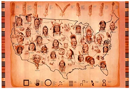 Amazon.com: Laminated Native American Tribes Map Art Print Poster 19 ...