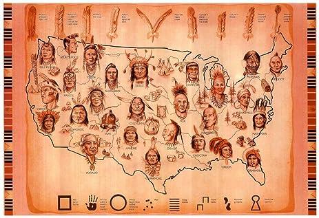 Amazoncom Laminated Native American Tribes Map Art Print Poster