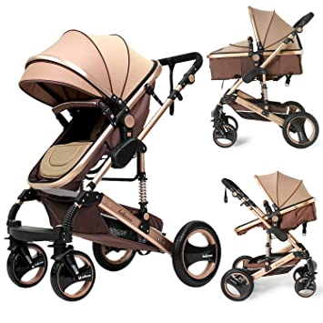 Infant Stroller Luxury Newborn Baby Foldable Anti Shock High View Carriage Baby Pushchair Golden