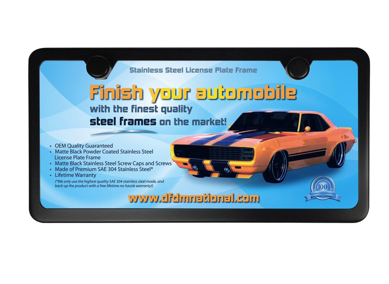 Amazon.com: DFDM National Black Stainless Steel License Plate Frame ...