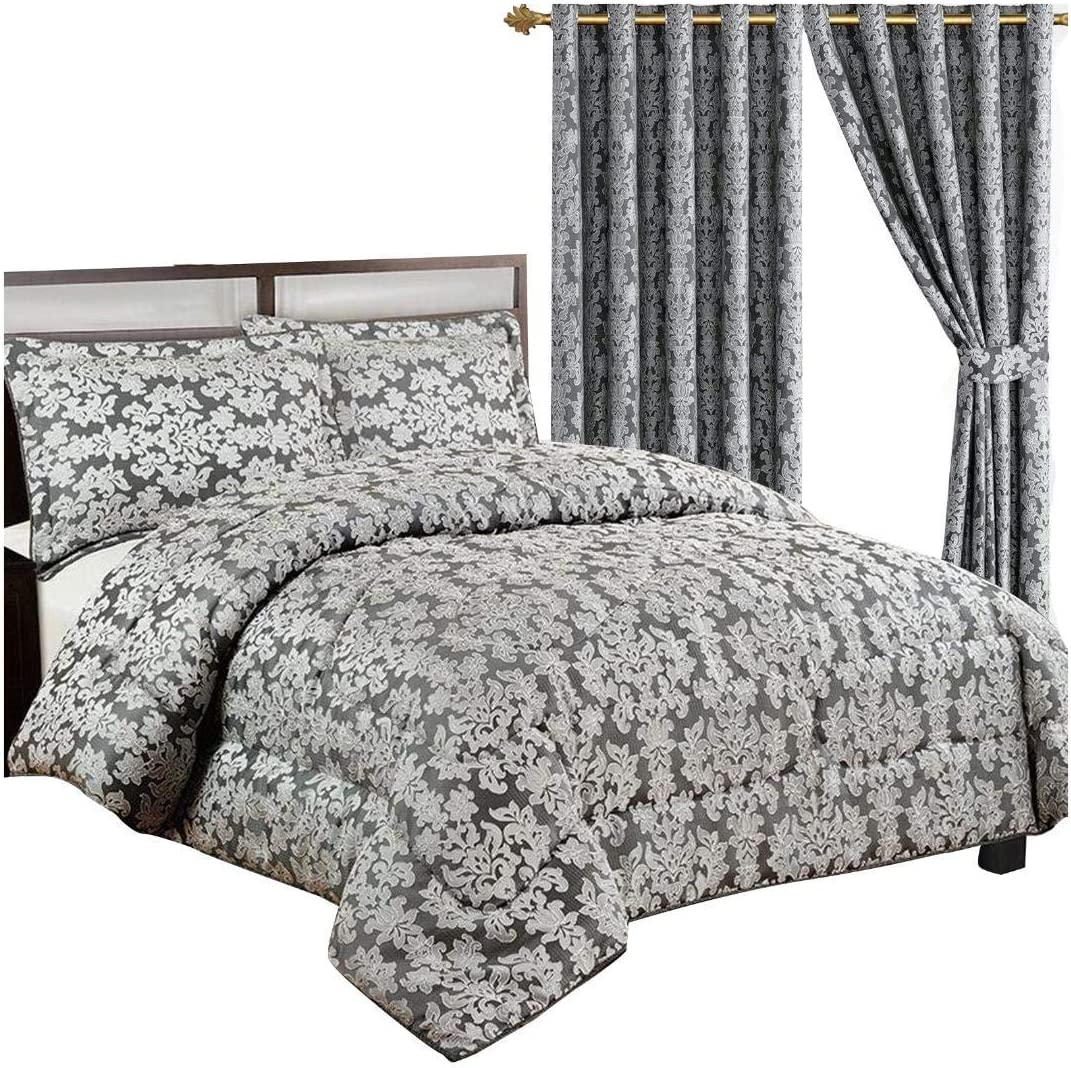 Luxurious Diana BLACK Quality Beddings 3 Piece Heavy Jacquard Quilted Bedspread Comforter Throw Set With Pillow Cases Double, Diana Black