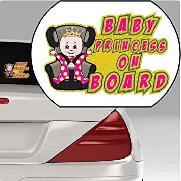 PRINCESS ON BOARD Baby Child Safety Window Bumper Car Sign Decal Warning Sticker