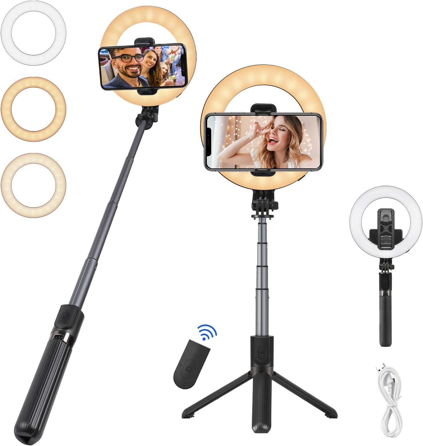 Samsung and Smartphone Selfie Stick with Ring Light Compatible with iPhone 11//11 Pro//XS Max//XS//XR//X//8//7 Foviza Extendable Selfie Stick Tripod with Detachable Wireless Remote and Phone Holder