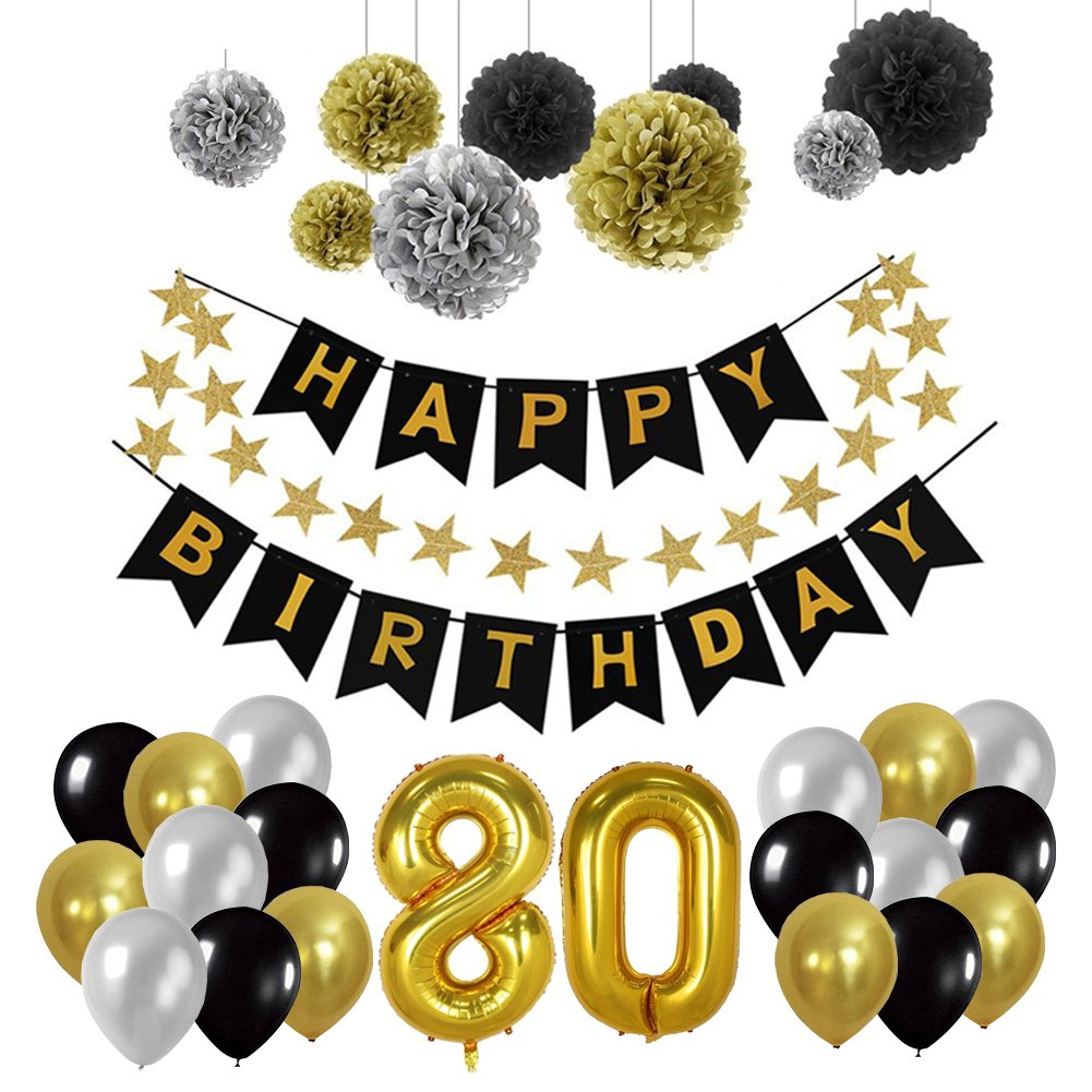 Yoart 80th Birthday Decorations, Birthday Party Supplies for Men Boy with Happy Banner, 9 Tissue Paper Pom Poms Hanging Swirl Decor and 30 Latex Party Balloons in Black Gold and Silver