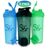 Protein Shaker Bottle Set 3 Pack, 25oz Bottles, Blue/Green/Black and Blender Mixer Ball, Leak Proof BPA Free Dishwasher Safe Sports and Travel Water Container Fits Most Cup Holders