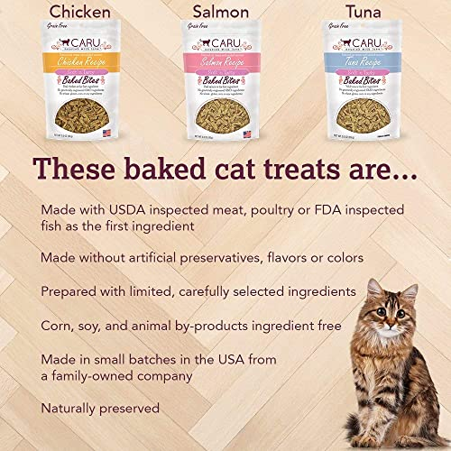Caru Soft N Tasty Baked Bites Grain Free Cat Treats in 3 Flavors 1 Salmon, 1 Tuna, and 1 Chicken 3 Bags Total, 3 Ounces Each