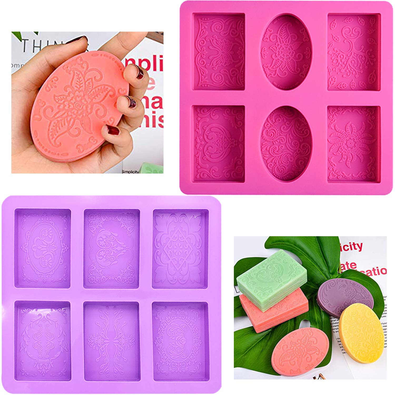 Soap Mold BESTZY 2PCS 6 Cavity Silicone Mould DIY Soap Mould Mooncake Chocolate Wafer Silicone Molds for Halloween
